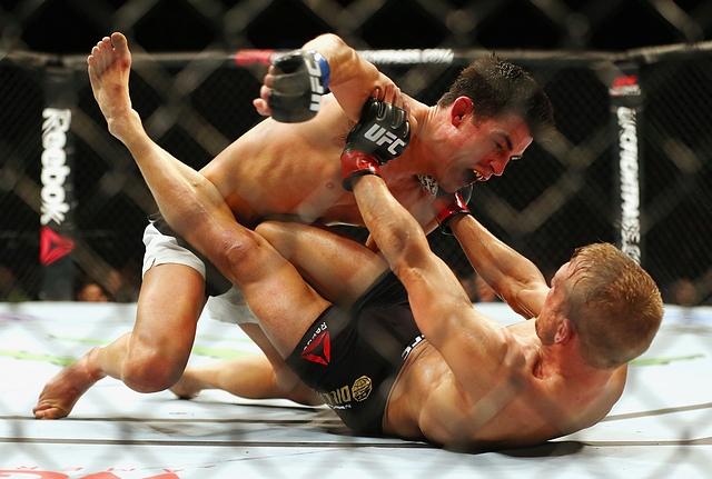 Dominick Cruz golpea Dillashaw no chão (Foto: Sherdog)
