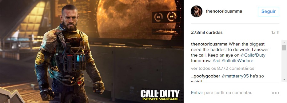 Conor McGregor em Call Of Duty: Infinite Warfare (Foto: Instagram @TheNotoriousMMA)