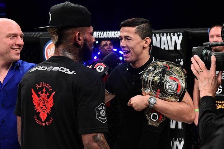 Dudu Dantas (dir.) fica cara a cara com seu próximo oponente, Darrion Caldwell (esq.) (Foto: SpikeTV / Bellator MMA)
