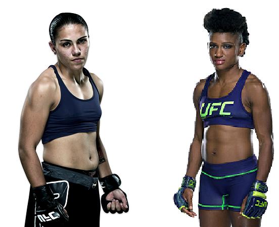 """Jéssica """"Bate-Estaca"""" Andrade enfrenta Angela Hill pelo UFC 207, em Dezembro. (Foto: Montagem)"""