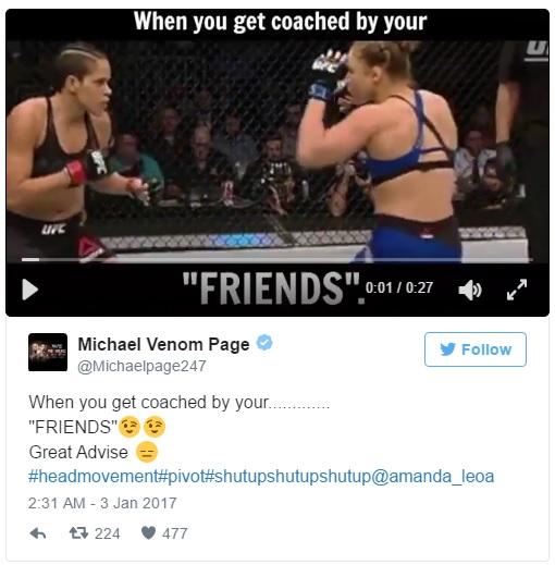 Tweet de resposta de Michael Page à investida de Travis Browne, continuando a tirar sarro da luta de Ronda Rousey contra Amanda Nunes (Foto: Twitter @MichaelPage247).